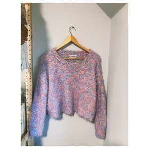 UO Cropped Fuzzy Sweater